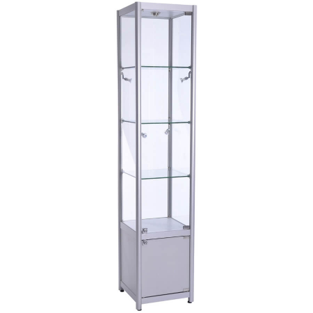 400mm wide Freestanding Glass Cabinet with Storage in Silver - FWC-400