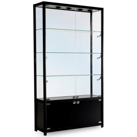 1200mm wide Trophy Cabinet with Storage in Black - FWC-1200