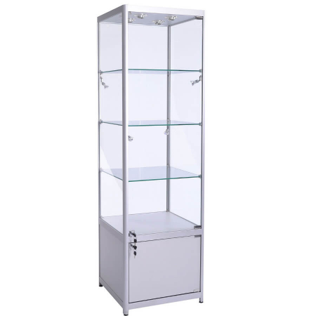 600mm wide glass cabinet with cupboard fwc-600