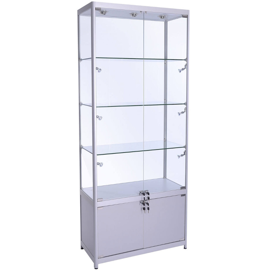 Portable Exhibition Display Cabinets : Mm wide glass display with storage led fwc