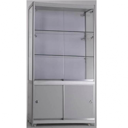 1000mm wide Glass Display Case with Storage - FWC-SD1