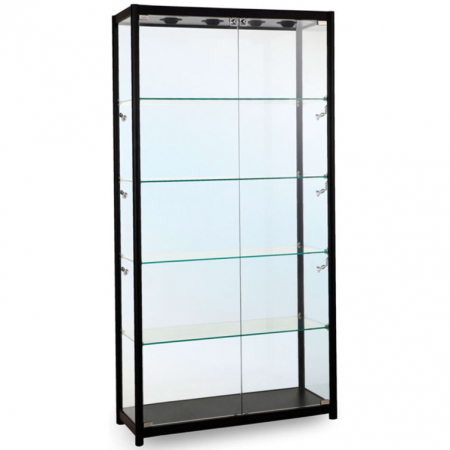 1000mm wide Freestanding Glass Display Cabinet in Black - F-1000