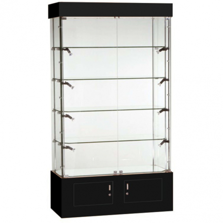 1016mm wide Freestanding Glass Display Cabinet in Black - FC-09