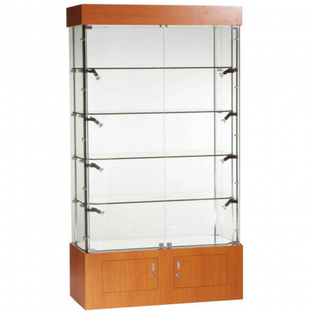1016mm wide Freestanding Glass Display Cabinet in Cherry - FC-09