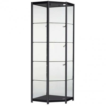 Freestanding Corner Glass Display Cabinet in Black - FCO1