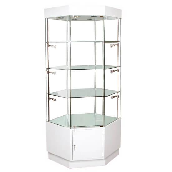 1180mm W Hexagonal Glass Display Case Halogen Hwc 910
