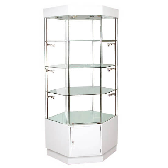 1180mm Wide Hexagonal Glass Display Case