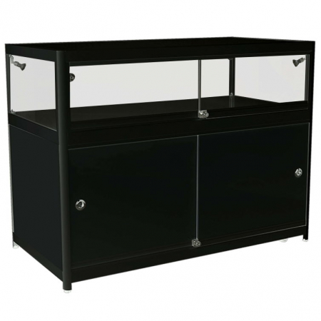 1200mm wide Glass Display Counter in Black - C1
