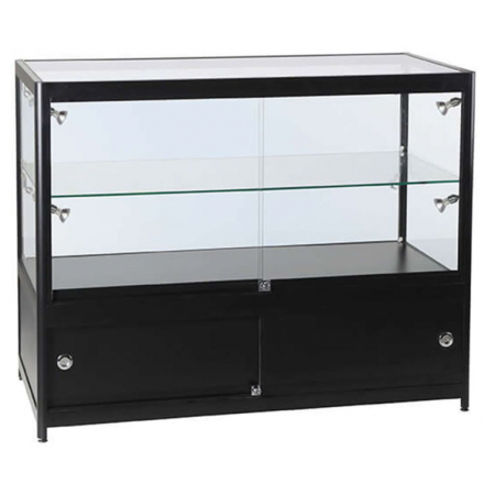 1200mm wide Glass Display Counter in Black - C2