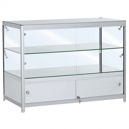 1200mm wide Glass Display Counter in Silver - C2