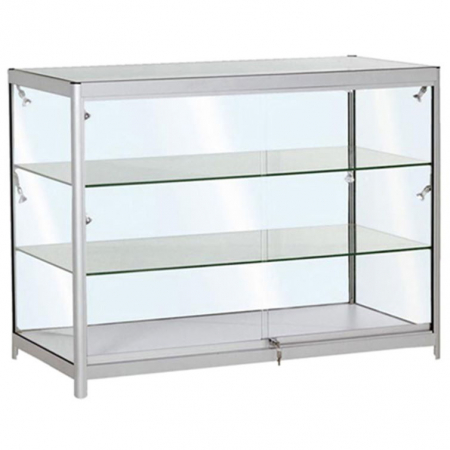 1200mm wide Glass Display Counter in Silver - C3