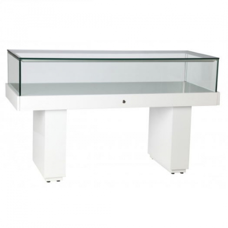 Premium Glass Display Counter in High Gloss White - LEDC-1500