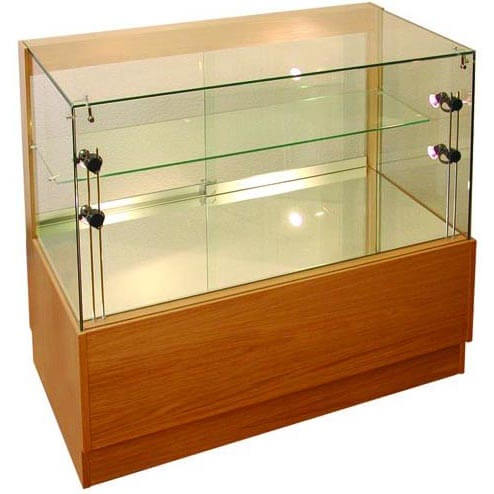 1000mm w x 500mm d glass display counter wood veneer for Kitchen cabinets 500mm wide