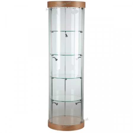 580mm wide Round Glass Display Case. Ideal for displaying trophies, models, vaping products / e-cigarettes, jewellery, watches, museum collections, antiques and more! - F-360 oak finish