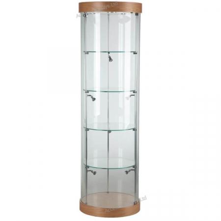 round glass cabinet - f-360 oak finish