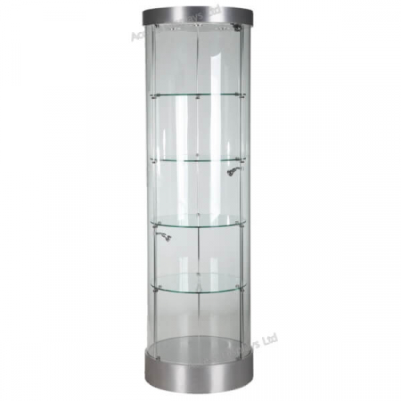 round glass display cabinet - f-360 in silver