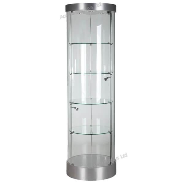 580mm Wide Round Glass Display Case Halogen F 360