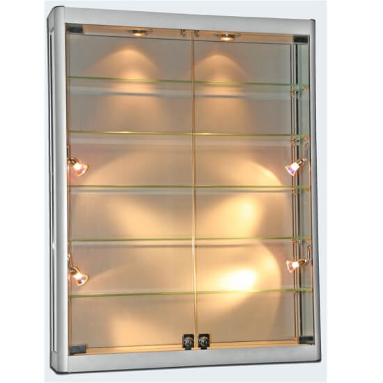 Wall Mounted Display Fixtures : 1000mm wide Wall Mounted Glass Display Cabinet - LED Lights - WM10-12-LED - Access Displays