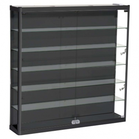 1200mm wide Wall Mounted Display Cabinet in Black - WM12-12
