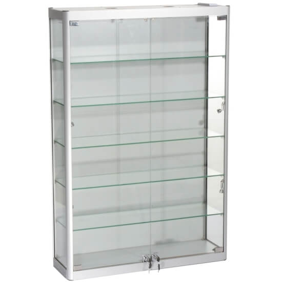 800mm w wall mount glass display cabinet led wm8 12 led rh accessdisplays co uk
