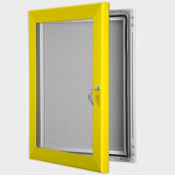 Modular Exhibition Stands Yellow : Exterior lockable felt notice board with colour frame
