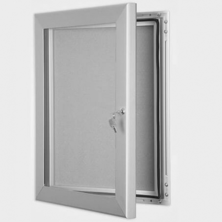 exterior lockable felt notice board - silver anodised
