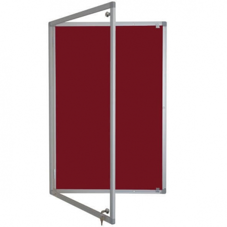 Lockable felt notice board - burgundy