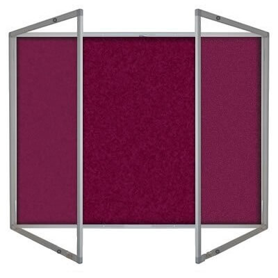 Lockable felt notice board - Double door