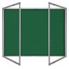 Lockable felt notice board in Green - Double door