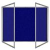 Lockable felt notice board in Oxford Blue - Double door