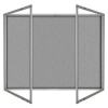 Lockable felt notice board - Double door - Silver