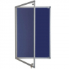 lockable felt notice board - oxford blue
