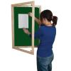 Lockable felt notice board - Single door with wood frame - Dark Green