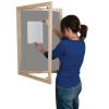 Lockable felt notice board - Single door with wood frame - Silver