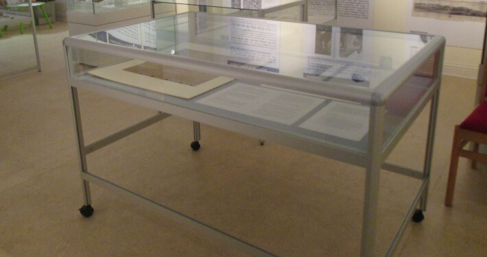 counter style museum display case for waterford museum