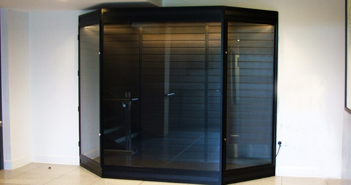 custom glass cabinet with anti bandit glass