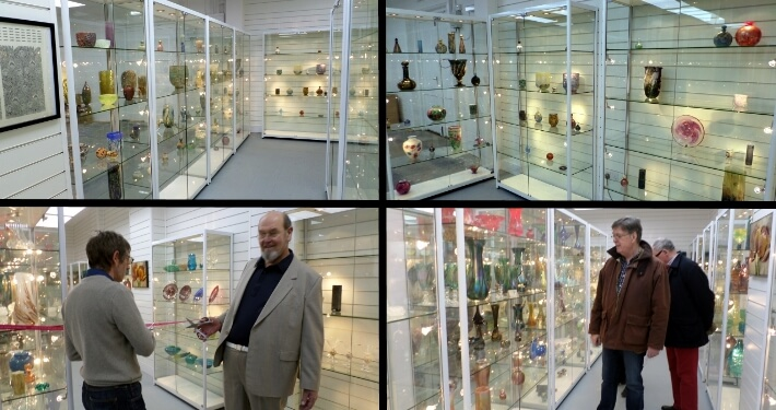 display cabinets at isle of wight glass museum