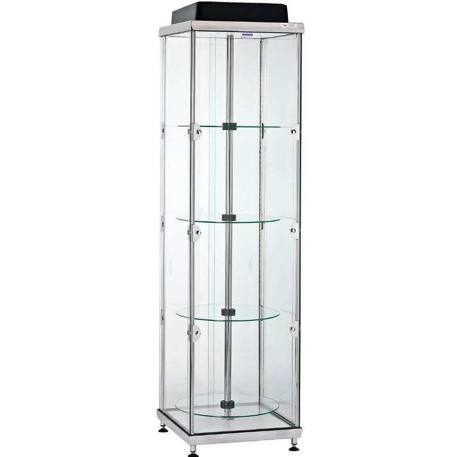 Modular Exhibition Stands Questions : Revolving glass showcase hire adtt access displays