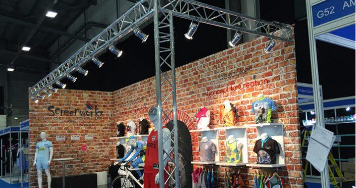 Exhibition stand built using lighting truss