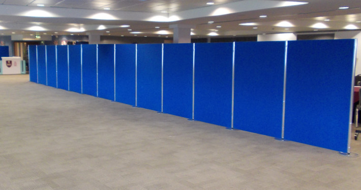 large display boards in blue for hire