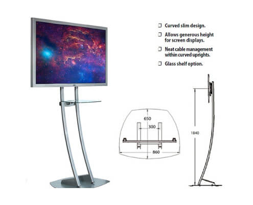 curved stand for screens with glass shelf