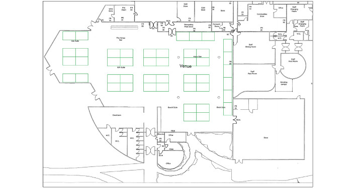 shell scheme hall plan example 3