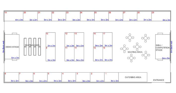 shell scheme hall plan example 8