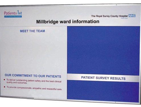 Custom notice board for hospital use