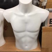 Male desk top mannequin in white