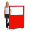 1200 (w) X 1500 (h) glazed office screen - Red