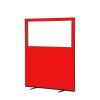 1200 (w) x 1500 (h) glazed office screen - Red Woolmix