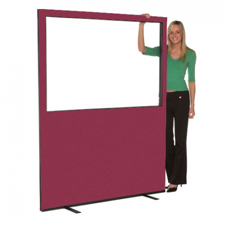 1500mm (w) x 1800mm (h) Glazed office screen - Merlot Woolmix