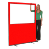 1500mm (w) x 1800mm (h) Glazed office screen - Red Woolmix