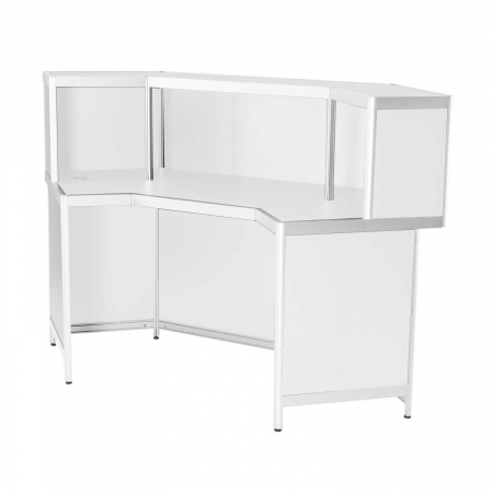 DP47 corner reception counter in white for hire